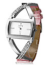 Women's Fashion Cross Case Pink PU Band Quartz Analog Wrist Watch