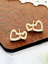 Korean jewelry fashion simple double peach heart full of diamond earrings earrings (random color)