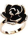 Maxi anel Liga imitação de diamante Formato de Flor Dourado Jóias Diário 1peça
