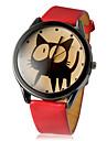 Женские Модные часы Кварцевый PU Группа Мультфильмы Черный Белый Красный