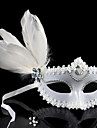 Lace Masquerade Halloween Mask Retro With Feather White Flowers