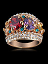 New Arrival Noble Multicolor Zircon Engagement Rings With 18K Rose Gold Plate & Czech Crystals Wedding Jewelry