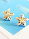 Temperament diamond pearl gold five-pointed star starfish earrings E305