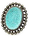 europeu quente e americanos retro doces anéis de pedras preciosas coloridas oval oca (cor aleatória)