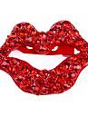 Estilo lábios britânicos casuais europeus e americanos retro vermelhos cheios de diamantes broche X52