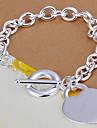 Z&X® Heart-shaped pendant silver plated bracelet