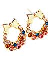 13 Hot Toys dazzling diamond jewelry Korean jewelry colorful rhinestone bow earrings E41