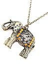Retro diamond carved elephant long necklace N115Imitation Diamond Birthstone