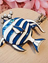 European and American jewelry retro blue tropical fish sweater chain long necklace N66