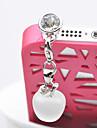 35MM 애플 펜던트 빛 지르콘 합금 인공적인 돌 반대로 먼지 마개 (무작위 색깔)