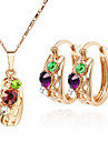 Exquisite Lovely Fashion Crystal Necklace & Earrings Jewelry Set Atacado
