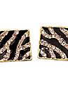 2.013 europeus e americanos estilo quadrados caixa da listra da zebra brincos de diamante brincos de diamante E46