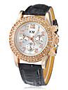 Double Diamante Dial PU bande de montre bracelet à quartz analogique de la femme (couleurs assorties)