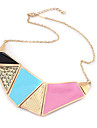 European and American retro palace necklace exaggerated personality colored geometric style sweater chain N229