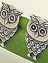 Europeus e americanos estilo bonito retro coruja brincos (cor aleatória)
