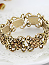 Alloy Rhinestone Flower Hollow Elastic Bracelet