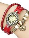 cru cuir pendentif quartz analogique bande montre bracelet de chat des femmes (couleurs assorties)