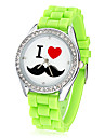 Women's Mustache Pattern Diamante Dial Silicone Band Quartz Analog Wrist Watch (Assorted Colors) Cool Watches Unique Watches