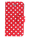 Round Points PU Case Full Body avec support pour iPhone 4/4S (couleurs assorties)