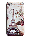 Retro Butterflies around Tower Pattern PC Hard Case with Black Frame for iPhone 4/4S