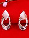 Exquisite Opal Circular Hollow Diamond Stud Earrings E376