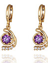 Gold Plated Bronze Zircon Drop Earrings