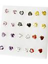 Korea Style Heart love Rhinestone Stud Earrings(Random Color)