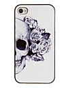 Skull with Rose Decorated Ear Pattern PC Hard Case with Black Frame for iPhone 4/4S