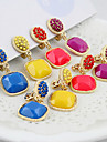2013 hot sale fashion designer wholesale rhinestone colorful clip earrings
