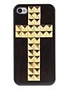 골든 스퀘어 아이폰 4/4S (분류 된 색깔)를위한 접착제로 덮여 크로스 본 단단한 케이스를 리벳을 박는 다