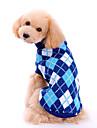 Собаки Свитера Одежда для собак Зима Весна/осень В клетку Мода Классика Синий
