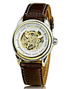 Men'S Auto-Mechanical Silver with Gold Case White Black Dial Brown Black Pu Band Wrist Watch Cool Watch Unique Watch