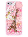 Special Design Golden Eiffel Tower Pattern with Diamond and Pearls Pink Hard Case for iPhone 5/5S