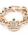 (1 Pc) Europeu 8cm Unisex Ouro Corrente de Ouro chapeado & Ligação Bracelet (dourado)