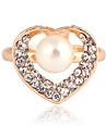 Anéis de Cristal Transparente Mulheres Moda (dourado) (1 Pc)