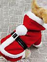 Chien Costume Manteaux Pulls à capuche Rouge Vêtements pour Chien Hiver Couleur Pleine Cosplay Noël