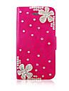iPhone 4/4S를위한 꽃 지르콘 PU 가죽 가득 차있는 몸 케이스 (분류 된 색깔)
