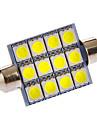 Feston 3W 12x5050SMD 108LM 6000-7000K Ampoule lumière blanche fraîche LED pour la voiture (12V DC)