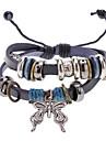 Unisex Butterfly Fabric Leather Bracelet