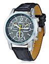 Men's Round Dial Pu Band Quartz Analog Wrist Watch