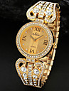 Parti or en cristal d'alliage d'argent Bande analogique Montre-bracelet à quartz Femme