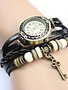 Vintage Key Pendentif en cuir de style de quartz de bande analogique bracelet des femmes (couleurs assorties)