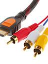 Cabo de Áudio e Vídeo 1.5 M HDMI V1.3 Macho para 3RCA Macho