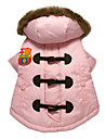 Lovely OX-horn Button Warm Pink Coat with Hoodies for Pets Dogs (Assorted Colors,Sizes)