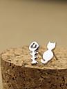 Korean Version Of The Fine Jewelry Personalized Earrings Asymmetric Earrings Cute Kittens And Fish Bones E530
