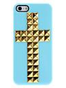 Projeto especial de Ouro Rebites Cruz Hard Case Padrão com adesivo prego para iPhone 5/5S (cores sortidas)