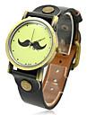 Unisexe conception de moustache PU bande de montre bracelet à quartz analogique (couleurs assorties)