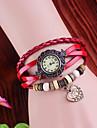 Women's Vintage Heart Pendant Style Leather Band Quartz Analog Bracelet Watch (Assorted Colors)