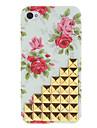Golden Square rivets couvert Escaliers et Rose cas dur de modèle avec la colle pour l'iPhone 4/4S