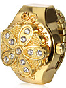 Women's Gold Flower Cover Alloy Quartz Ring Watch Cool Watches Unique Watches